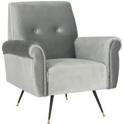 Light Grey Velvet Accent Chair Office Designer Fox6285b Chairs Furniture By Safavieh