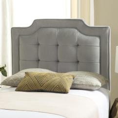 Chairs And Ottomans Upholstered Pull Out Twin Bed Chair Sapphire Pewter Tufted Velvet Headboard Headboards - Furniture By Safavieh
