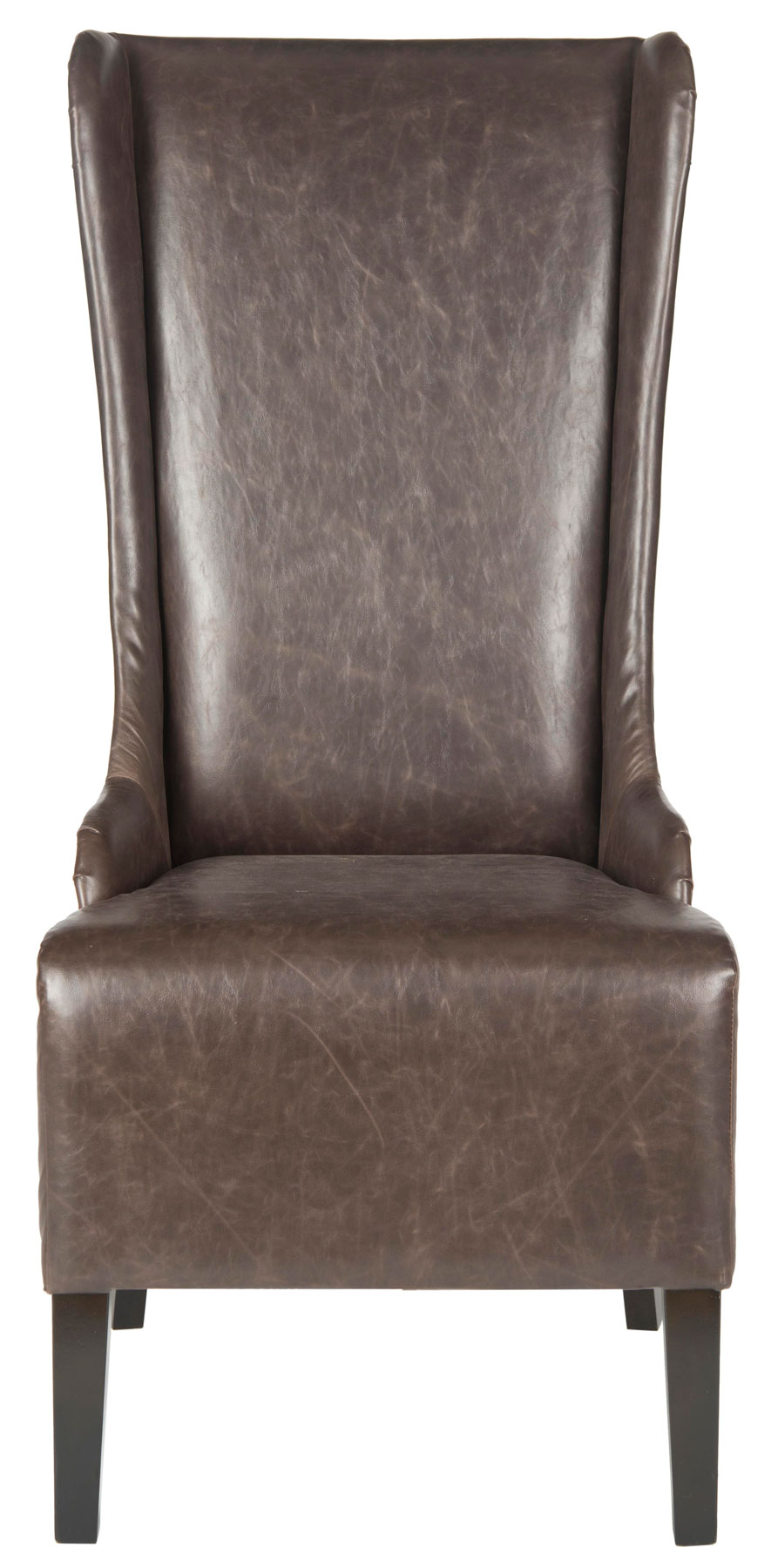 brown leather high back dining chairs baby beach chair with umbrella mcr4501n furniture by safavieh share this product