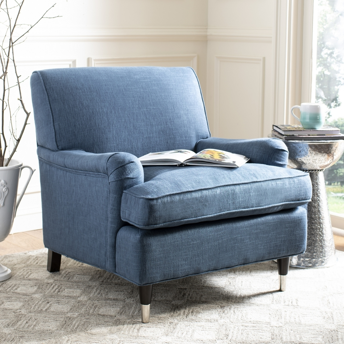 sofa blue color camelback cover navy linen armchair accent chairs safavieh