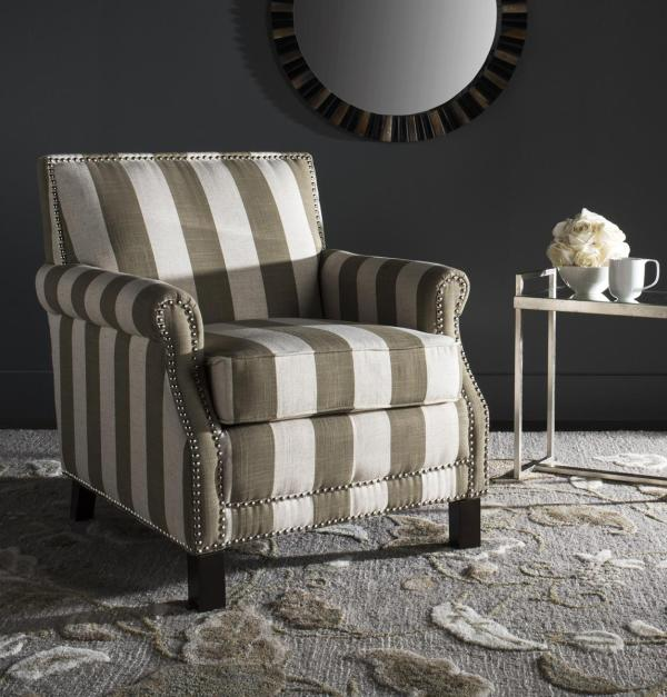 Beige & White Striped Accent Chair