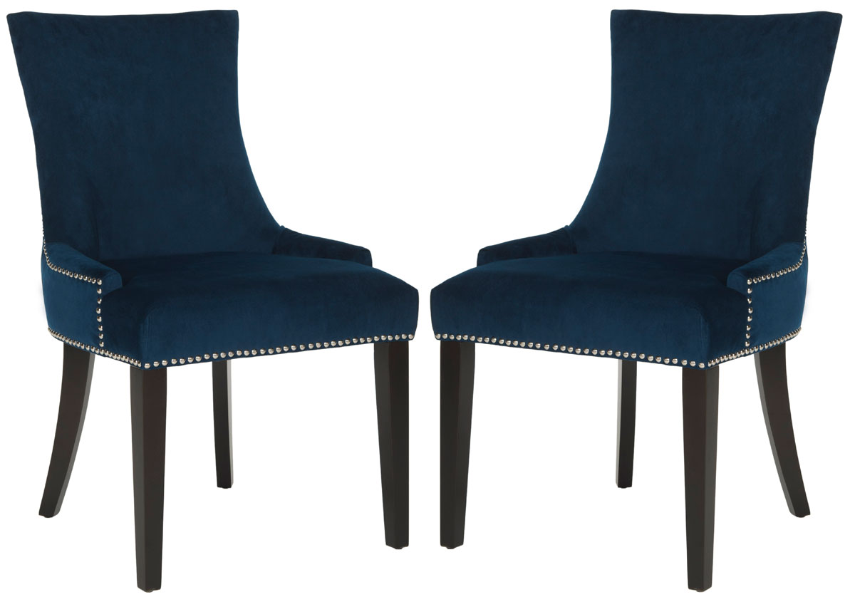 navy blue dining chairs set of 2 lounge chair fabric replacement cushioned safavieh