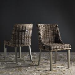 Gray Rattan Dining Chairs Z Chair Mid Century Sea7005a Set2 Furniture By Safavieh Caprice 18 H Wicker With Leather Handle Design