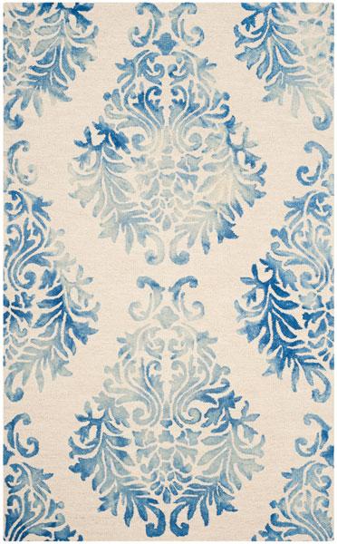 Blue Floral Tie Dyed Area Rug Dip Dye Rugs