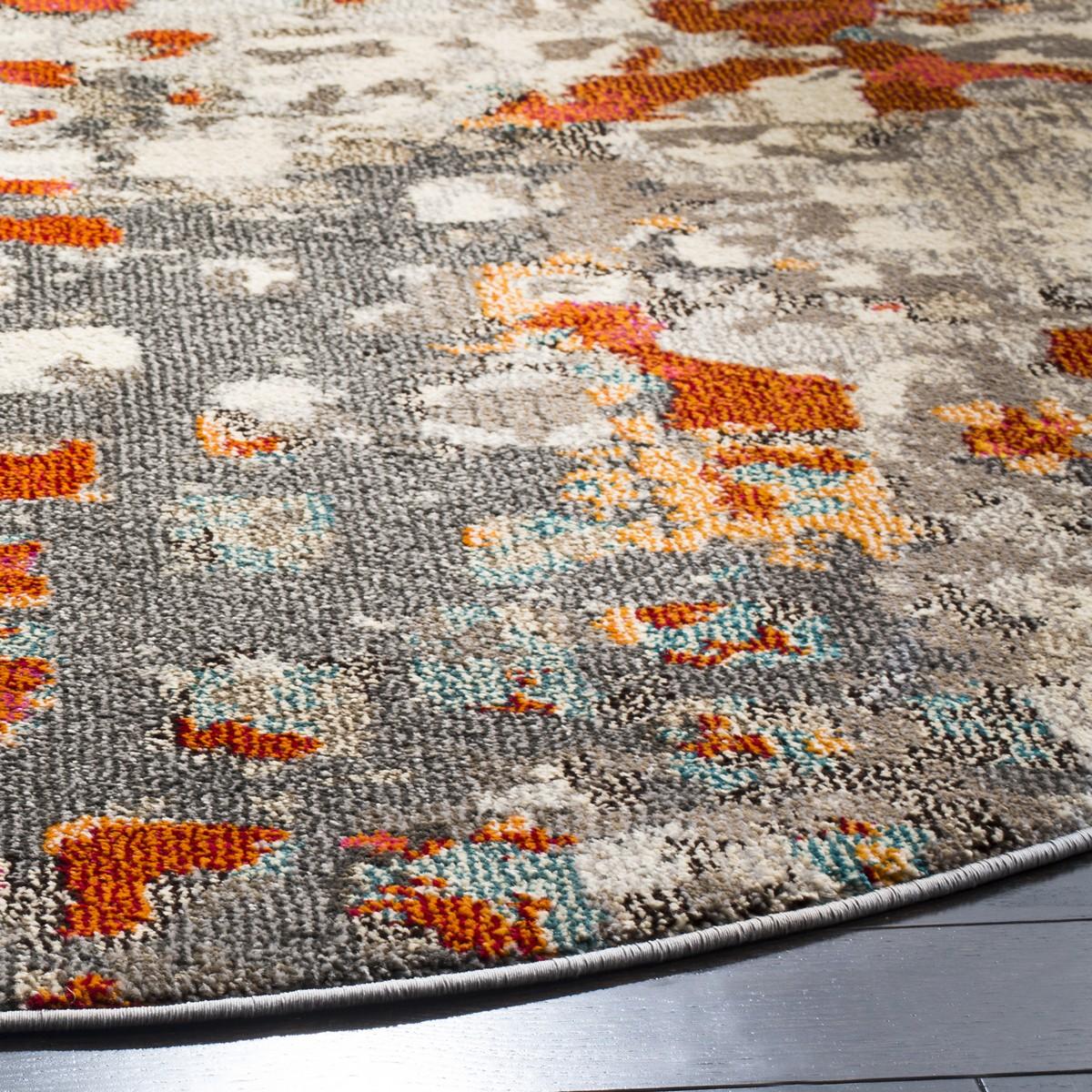 Orange  Grey Watercolor Area Rug  Monaco Rugs by Safavieh