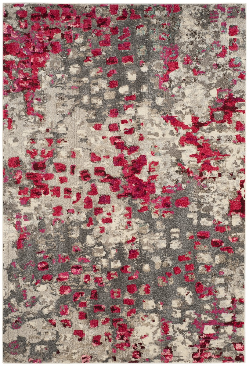 Fuchsia  Grey Watercolor Rug  MNC225R  Safaviehcom