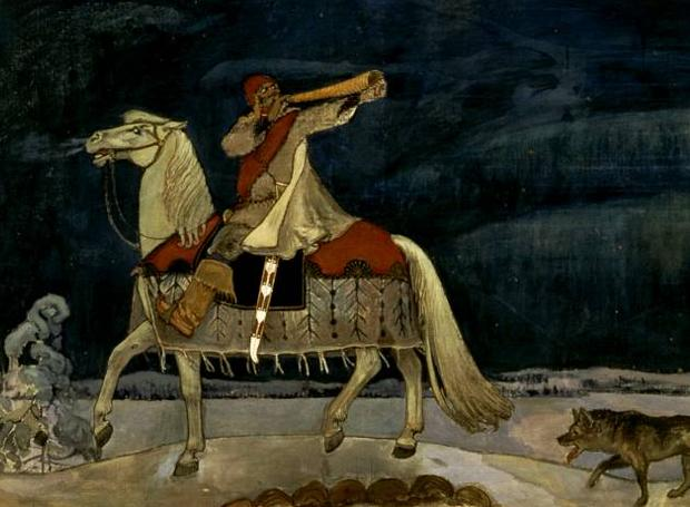 O Κουλέρβο οδεύει στον πόλεμο (τοιχογραφία του Αξέλι Γκαλέν-Καλέλα, 1901)