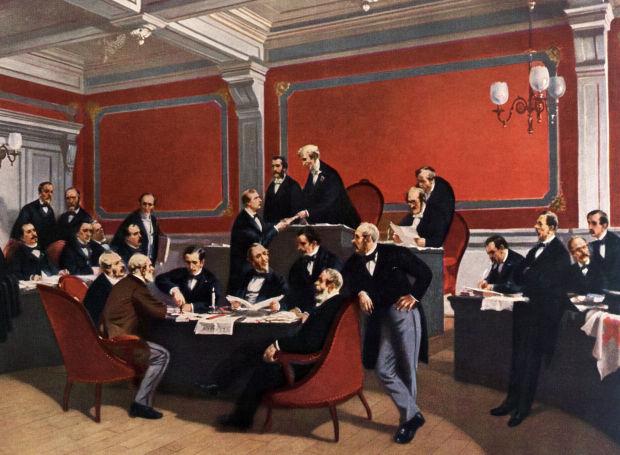 Η υπογραφή της Συνθήκης της Γενεύης, με την οποία ιδρύθηκε ο Ερυθρός Σταυρός.