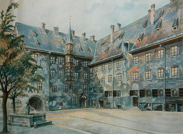 «Ο προαύλιος χώρος της παλιάς κατοικίας στο Μόναχο», πίνακας του Αδόλφου Χίτλερ.