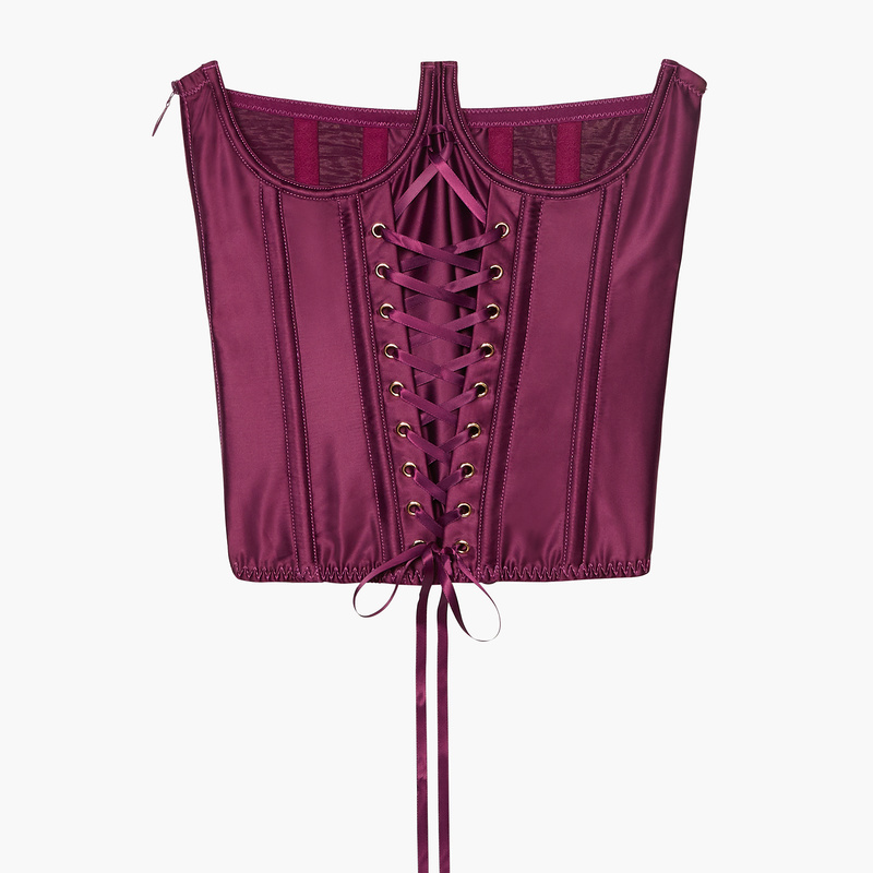 laced satin cupless corset