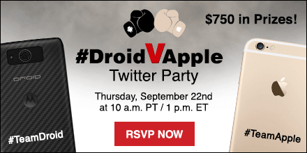 Join the #DroidVApple Twitter Party - $750 in Prizes