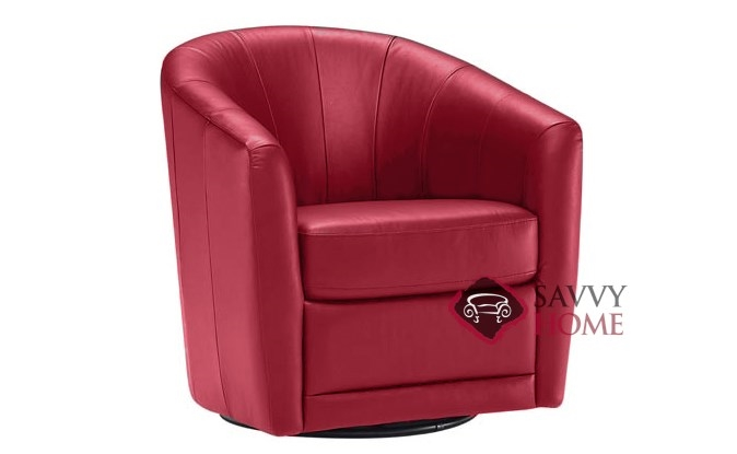 natuzzi swivel chair best desktop gaming mazaro b596 leather stationary by is fully shown in belfast red
