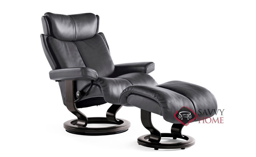 recliner vs chair with ottoman lift chairs covered medicare magic leather reclining by stressless is fully customizable medium and in paloma rock