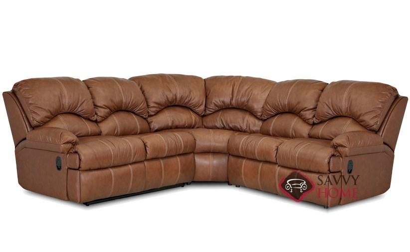 milan 3 piece true sectional reclining leather sofa bed by savvy power option available