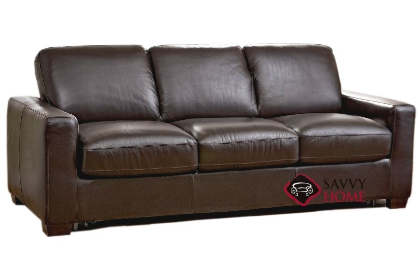 rubicon queen leather sofa bed by natuzzi editions with greenplus foam mattress b534 266