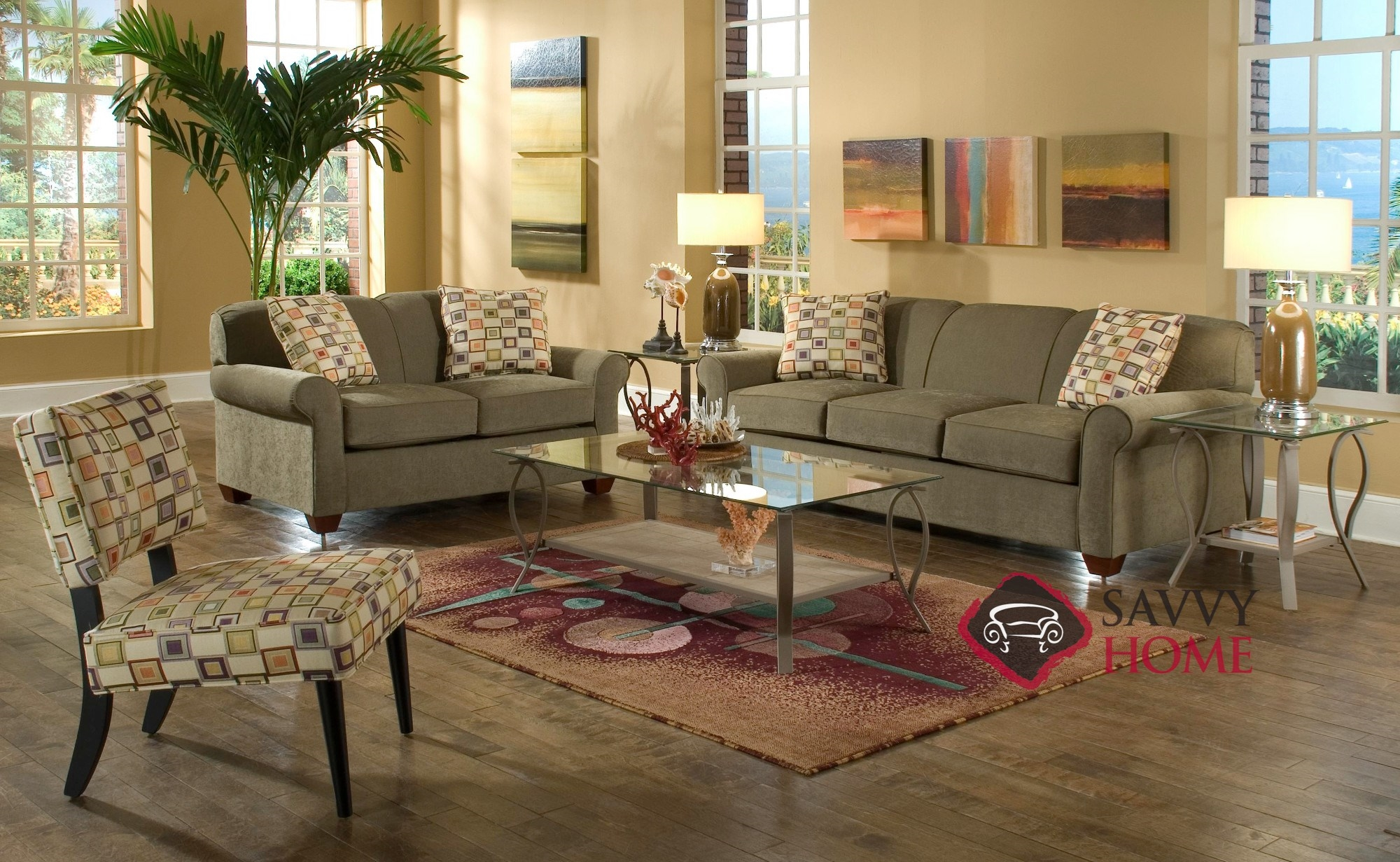 fabric sectional sofas calgary krause s sofa factory locations stationary by savvy is fully