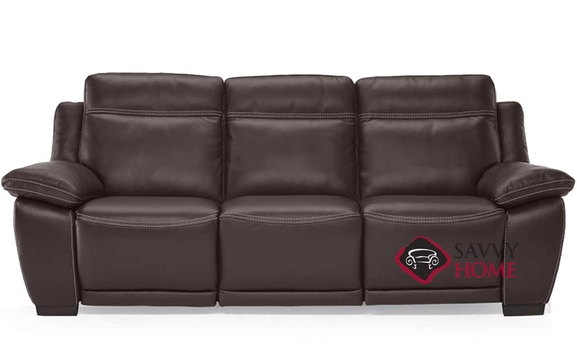 reclining leather sofas sofa fabric online uk quick ship ottimista b875 in denver dark power by natuzzi editions brown 155