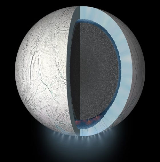 The depiction of this artist shows a view of the clip into the interior of Enceladus.  Feathers of ice particles, water vapor and organic molecules are sprayed due to fractures in the southern polar region of the moon.  Image credit: NASA / JPL-Caltech.