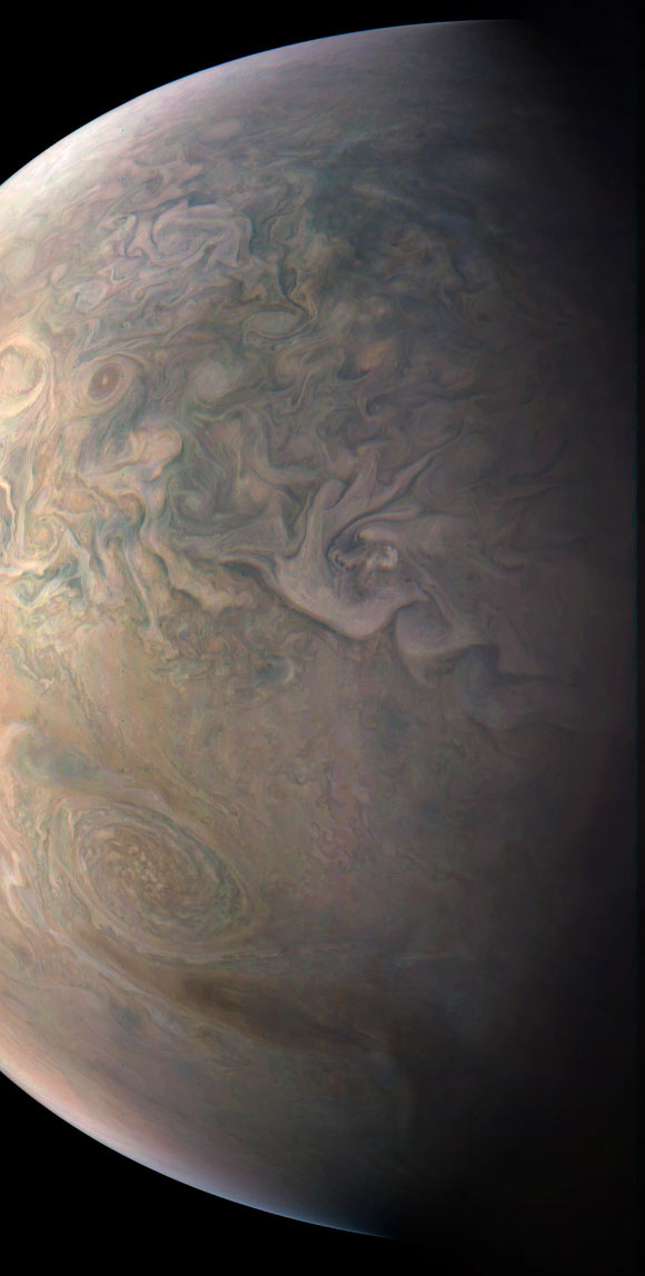 Juno snapped this shot of Jupiter's northern latitudes on Dec. 11, 2016, as the orbiter performed a close flyby of the gas giant. The spacecraft was at an altitude of 10,300 miles (16,600 km) above Jupiter's cloud tops. The image was processed by citizen astronomers Gerald Eichstaedt and John Rogers. Image credit: NASA / JPL-Caltech / SwRI / MSSS / Gerald Eichstaedt / John Rogers
