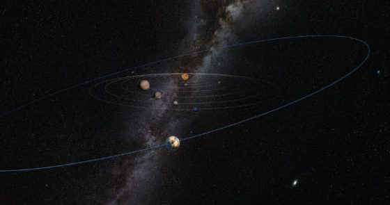 Planet 10 makes its existence known by ruffling the orbital plane of distant Kuiper Belt objects. Image credit: Heather Roper / Lunar and Planetary Laboratory, University of Arizona.