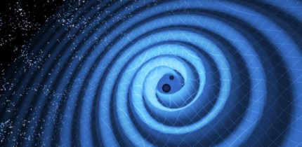 Gravitational waves observed by Laser Interferometer Gravitational-Wave Observatory (LIGO) twin detectors were produced during the final fraction of a second of the merger of two black holes to produce a single, more massive spinning black hole. Image credit: T. Pyle / LIGO.