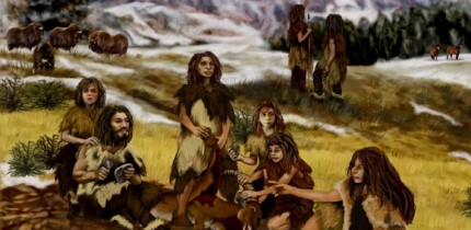 An artist's impression of prehistoric humans in Europe.