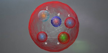 Illustration of the possible layout of the quarks in a pentaquark particle such as those discovered by the LHCb Collaboration; the five quarks might be tightly bonded or assembled differently. Image credit: CERN.