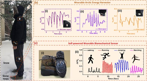 Snow-TENG: (a) use and detection of biomechanical movements by joining a snow-TENG to different locations of the human body; (b) measuring the electrical output of a snow TENG device using a snow mode when connected to (i) shoulder, (ii) wrist and (iii) knee; (c-i) a photograph of the snow-badembled TENG device attached to the bottom of a snow boot as a self-powered biomechanical sensor; (c-ii) electric snowshoes-TENG when the user makes different movements: running, jumping, walking and walking. Image credit: Ahmed et al, doi: 10.1016 / j.nanoen.2019.03.032.