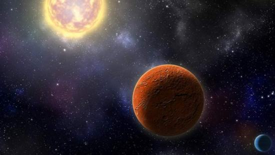 An artist's conception of HD 21749c, the first Earth-sized planet found by NASA's Transiting Exoplanets Survey Satellite (TESS), as well as its sibling, HD 21749b, a warm sub-Neptune-sized world. Image credit: Robin Dienel / Carnegie Institution for Science.