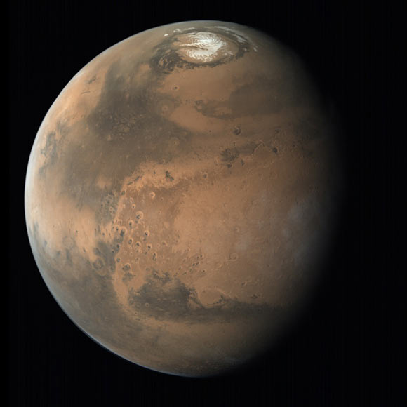 A view of Mars showing the planet's northern polar ice cap. Image credit: ISRO / ISSDC / Emily Lakdawalla.