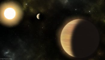 An artist's impression of the TOI-1130 system. Image credit: Sci-News.com.