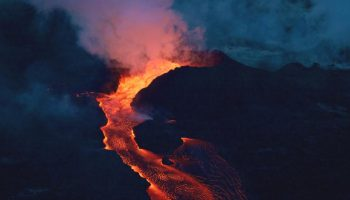 Lava streaming from an active vent during the 2018 eruption of KÄ«lauea volcano. Image credit: U.S. Geological Survey.