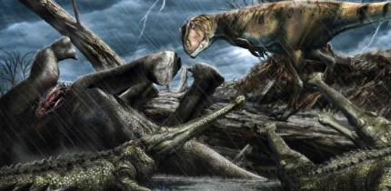 The giant predatory dinosaur Carcharodontosaurus eyes a group of Elosuchus -- crocodile-like hunters -- near a carcass. Image credit: Davide Bonadonna.