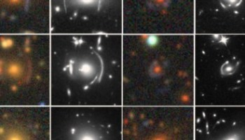 These two columns show side-by-side comparisons of gravitational lens candidates imaged by the Dark Energy Camera Legacy Survey (color) and the NASA/ESA Hubble Space Telescope (black and white). Image credit: Dark Energy Camera Legacy Survey / NASA / ESA / Hubble / Huang et al.