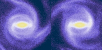 When the bar (horizontal in yellow and white) is in its shorter phase on the left, a few spiral arms can be seen near, but not quite firmly connected to the bar. Meanwhile, when the bar is at its longest on the right, there are two stronger spiral arms passing through this time around. These are more clearly connected to either end of the bar, effectively dragging it out and slowing it down. Image credit: Hilmi et al, doi: 10.1093/mnras/staa1934.