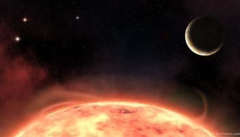 An artist's impression of the hot rocky exoplanet TOI-540b and its parent star. Image credit: Sci-News.com.