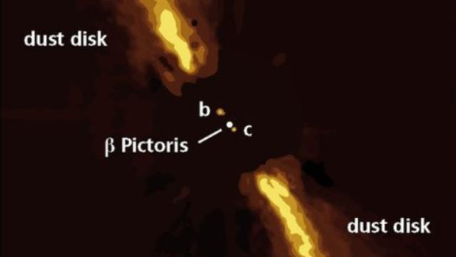 This image shows Beta Pictoris b and c embedded in the dusty disk around Beta Pictoris. Image credit: Axel Quetz / MPIA Graphics Department.