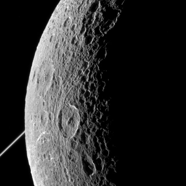 Dione Moon From Saturn Cassini