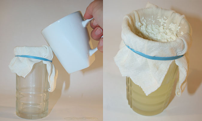 A cheesecloth secured over a glass jar with a rubber band filters curds from whey