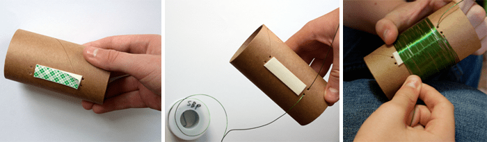 Three photos show a short section of cardboard tubing being wrapped in double sided tape and wire