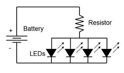 Circuit diagram for LEDs and resistor