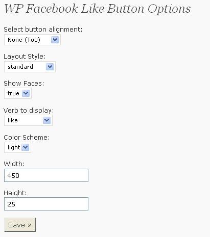 Facebook Like - WordPress plugin - Options