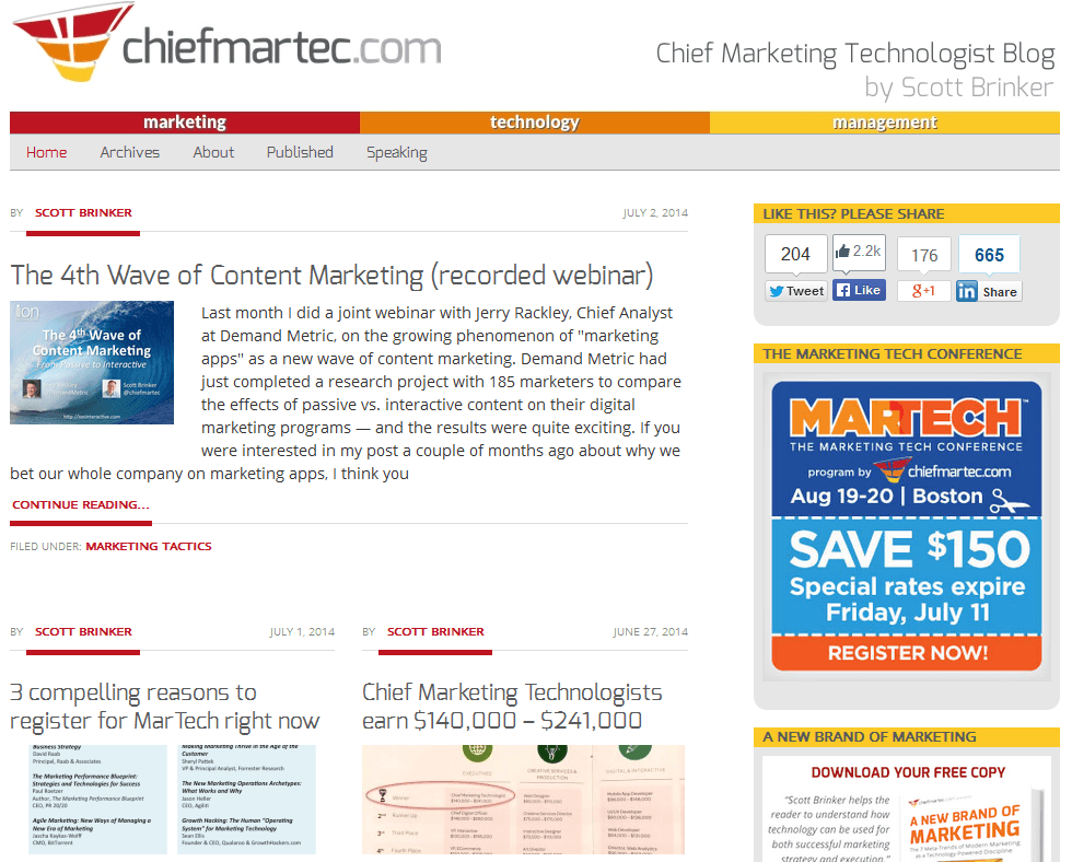 2014 07 02 20 30 38 Chief Marketing Technologist Marketing Technology Management SEOlympics: Best Marketing Blogs of the US East
