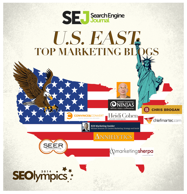 map SEOlympics: Best Marketing Blogs of the US East