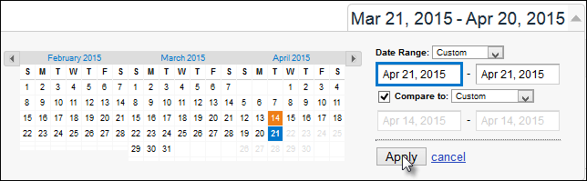 Screenshot showing how to create a week-over-week date comparison in Google Analytics.