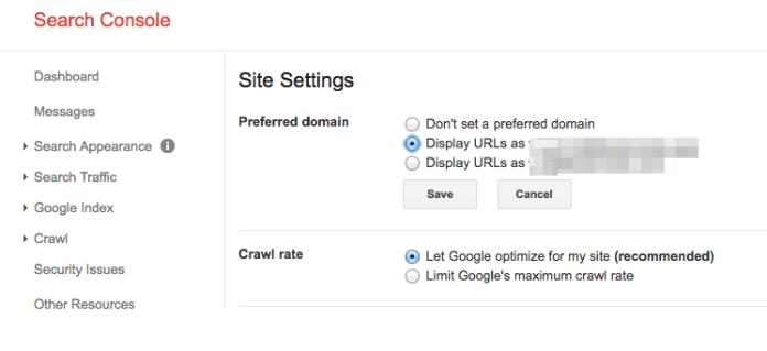 Google Search Console Preferred Domain