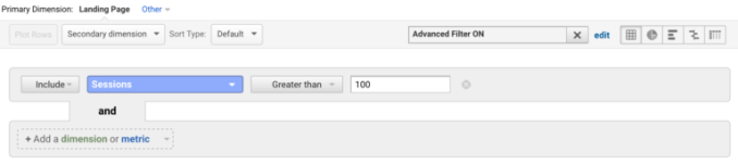 use google analytics advanced filter sessions to find bounce rate