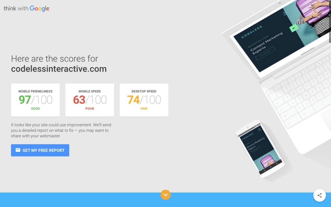 """來自Google""""測試我的網站""""工具的移動速度分數"""