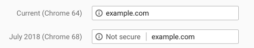 Image showing an example of what the security warning will look like in Chrome's browser address bar.