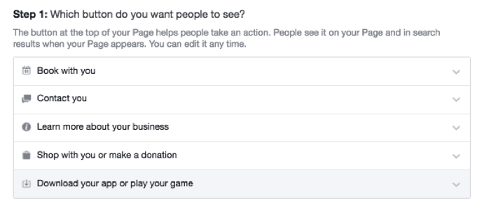 call to action button facebook page